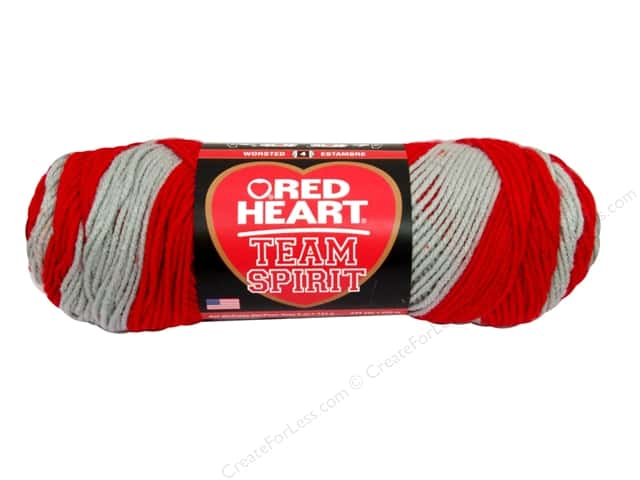Red Heart Team Spirit Yarn #0988 Red/Grey