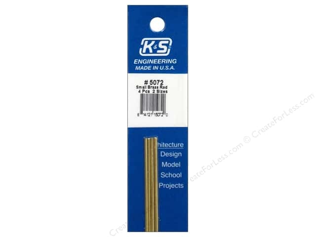 "K&S Bendable Metal Rod Brass 1/16"" & 3/64"" 4pc"
