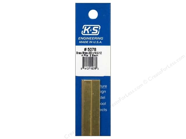 "K&S Bendable Metal Strips Brass .032x1/4"" & .5"" 4pc"