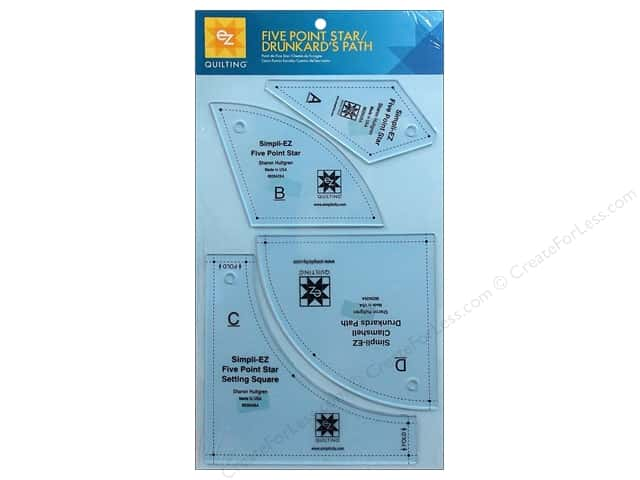 EZ Quilting Five Point Star / Drunkard's Path Acrylic Templates