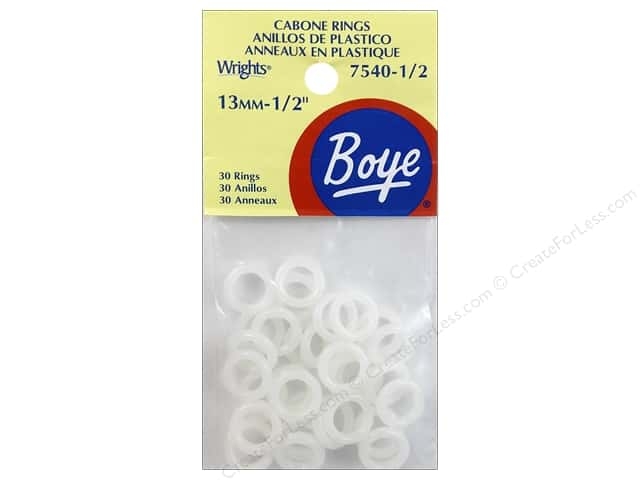 "Boye Yarn Accessories Cabone Rings 1/2"" White 30pc"