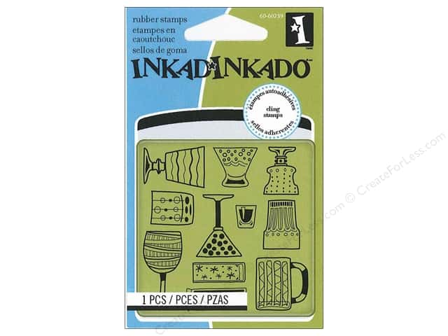 Inkadinkado InkadinkaClings Rubber Stamp Mini Cocktail Party Pattern