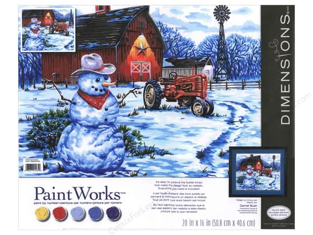 "Paintworks Paint By Number 20""x 16"" Country Snowman"