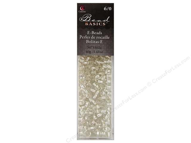Cousin Basics Glass E Beads 6/0 40g 1.41 oz. Silver Lined Clear