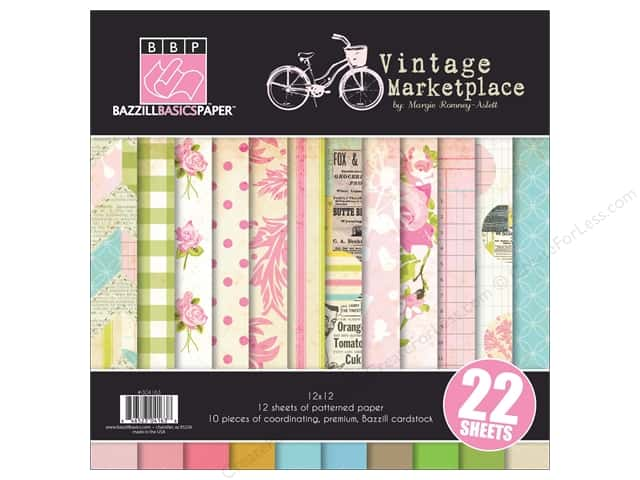 "Bazzill Multi Pack 12""x 12"" Vintage Market 22pc"