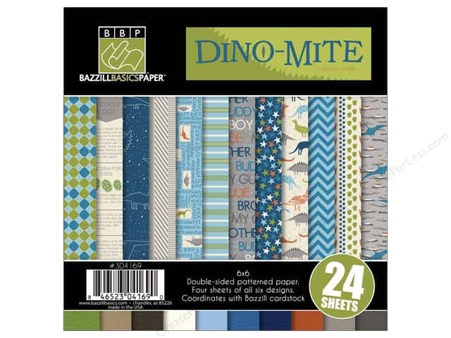 "Bazzill Multi Pack 6""x 6"" Dino-Mite 24pc"