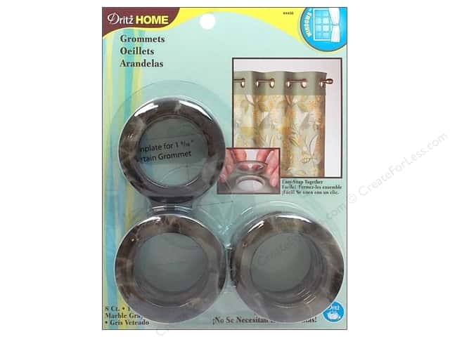 Dritz Home Curtain Grommets 1 9/16 in. Round Marble Grey 8pc