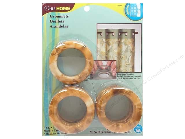 Dritz Home Curtain Grommets 1 9/16 in. Round Marble Tan 8pc