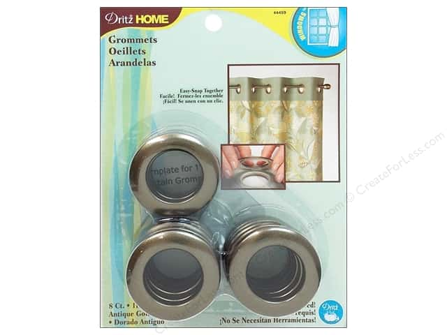 Dritz Home Curtain Grommets Medium 1 in. Round Antique Gold 8pc