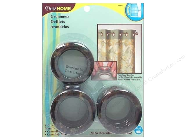 Dritz Home Curtain Grommets Large 1 9/16 in. Round Metallic Camo 8pc