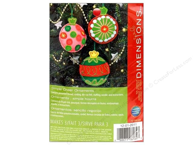 Dimensions Applique Kit Felt Simple Cheer Ornament