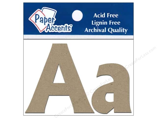 "Paper Accents Chip Shape Letters 2"" Aa 2pc Natural"