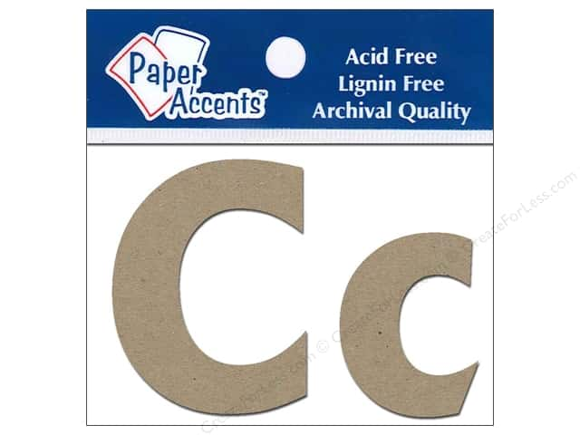 Paper Accents Chipboard Shape Letters Cc 2 in. 2pc Kraft