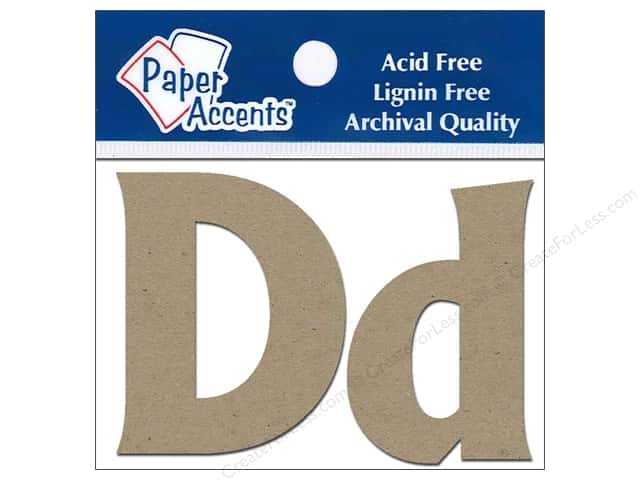 "Paper Accents Chipboard Shape Letters ""Dd"" 2 in. 2pc Kraft"