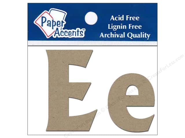 "Paper Accents Chip Shape Letters 2"" Ee 2pc Natural"