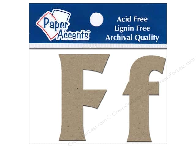 Paper Accents Chipboard Shape Letters Ff 2 in. 2pc Kraft
