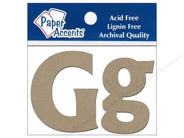 "Paper Accents Chipboard Shape Letters ""Gg"" 2 in. 2 pc. Kraft"