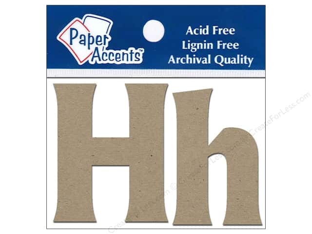 "Paper Accents Chip Shape Letters 2"" Hh 2pc Natural"