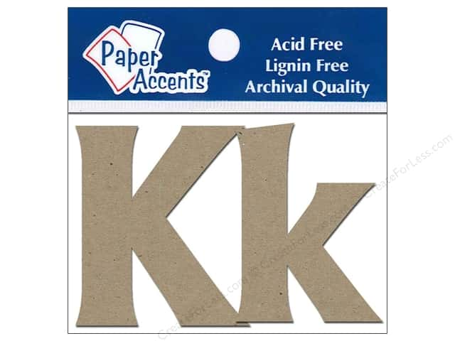 "Paper Accents Chip Shape Letters 2"" Kk 2pc Natural"