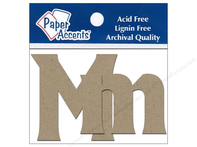 "Paper Accents Chipboard Shape Letters ""Mm"" 2 in. 2 pc. Kraft"
