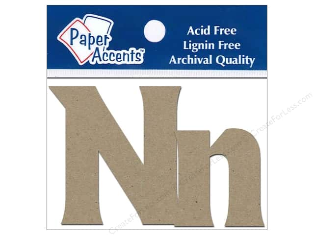 Paper Accents Chipboard Shape Letters Nn 2 in. 2pc Kraft