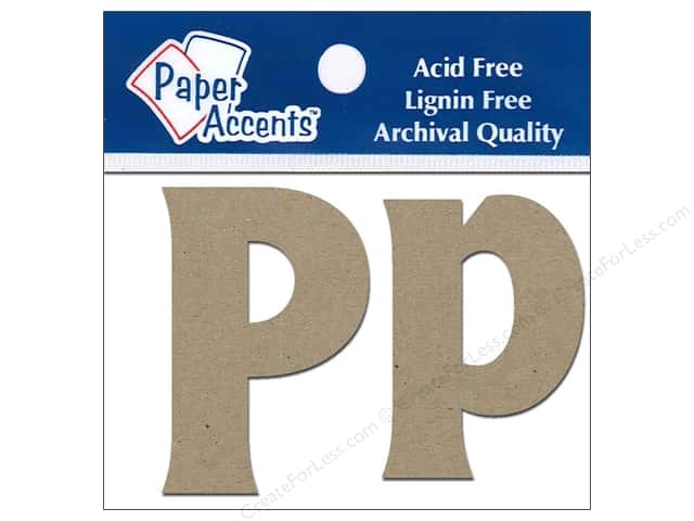 "Paper Accents Chipboard Shape Letters ""Pp"" 2 in. 2 pc. Kraft"