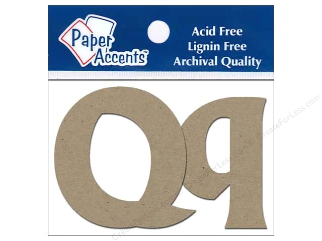 "Paper Accents Chip Shape Letters 2"" Qq 2pc Natural"