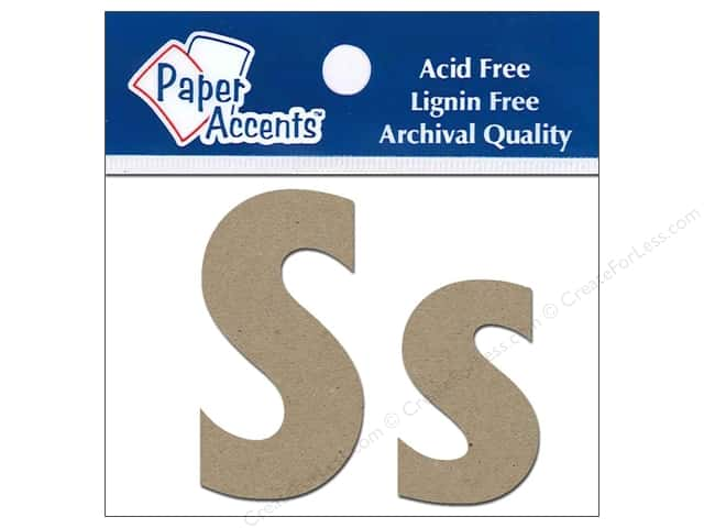 "Paper Accents Chipboard Shape Letters ""Ss"" 2 in. 2 pc. Kraft"