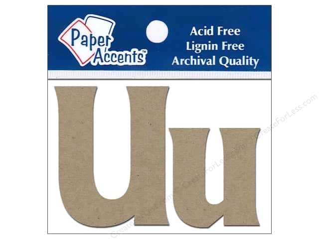 Paper Accents Chipboard Shape Letters Uu 2 in. 2pc Kraft
