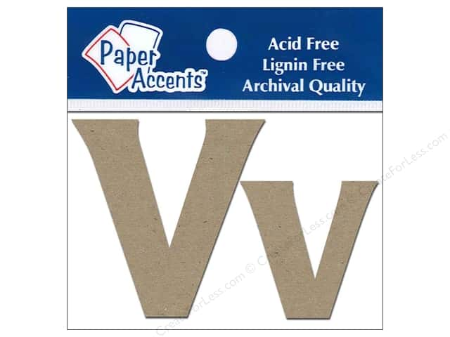 Paper Accents Chipboard Shape Letters Vv 2 in. 2pc Kraft