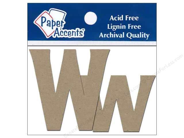 Paper Accents Chipboard Shape Letters Ww 2 in. 2pc Kraft