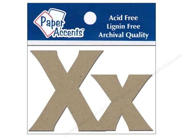 "Paper Accents Chipboard Shape Letters ""Xx"" 2 in. 2 pc. Kraft"