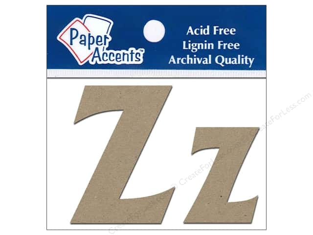 "Paper Accents Chipboard Shape Letters ""Zz"" 2 in. 2 pc. Kraft"