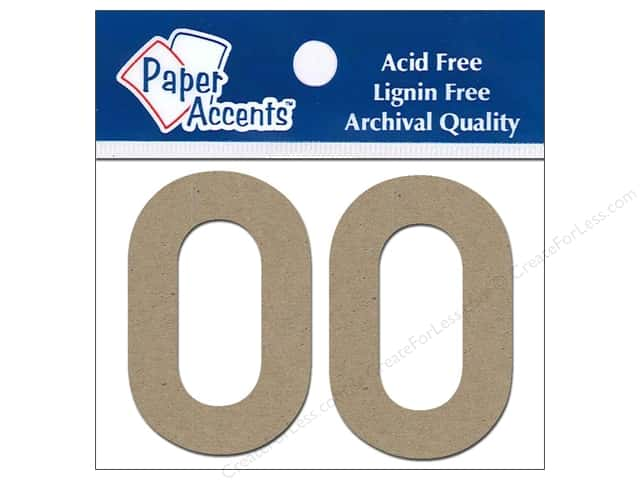 "Paper Accents Chipboard Shape Numbers ""0"" 2 in. 2 pc Kraft"