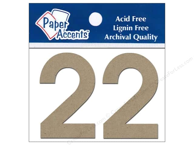 "Paper Accents Chipboard Shape Numbers ""2"" 2 in. 2 pc. Kraft"