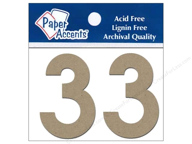 "Paper Accents Chipboard Shape Numbers ""3"" 2 in. 2 pc. Kraft"