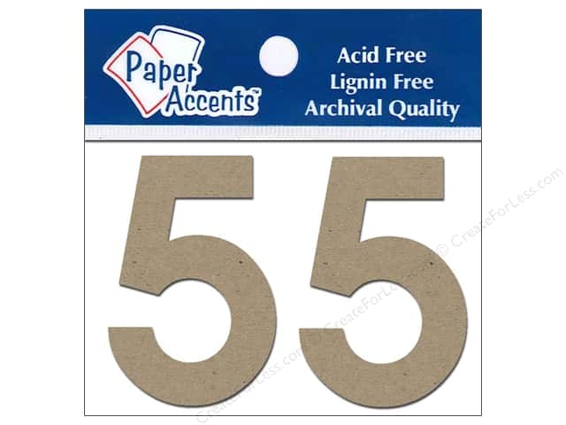 "Paper Accents Chip Shape Numbers 2"" 5 2pc Natural"