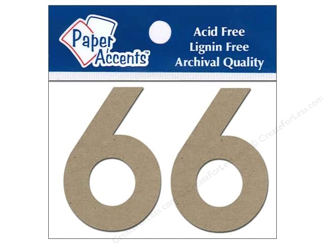 "Paper Accents Chipboard Shape Numbers ""6"" 2 in. 2 pc Kraft"