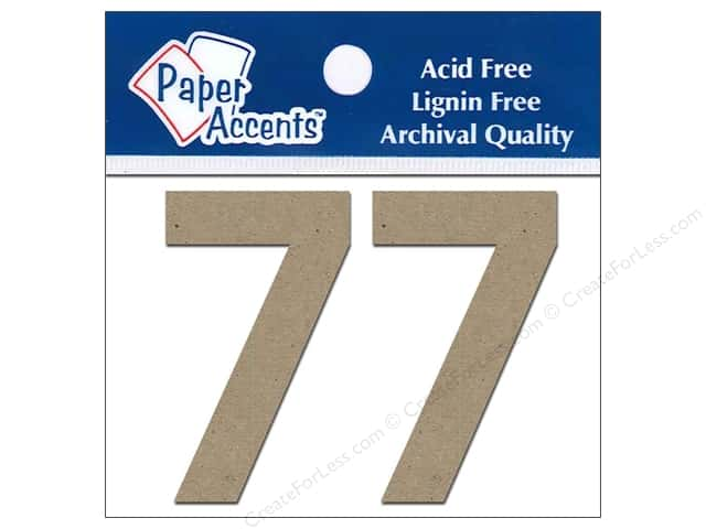 "Paper Accents Chip Shape Numbers 2"" 7 2pc Natural"