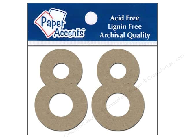 "Paper Accents Chipboard Shape Numbers ""8"" 2 in. 2 pc Kraft"