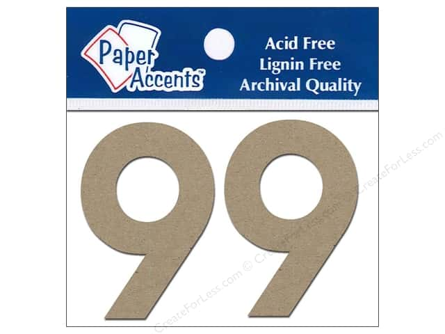 "Paper Accents Chipboard Shape Numbers ""9"" 2 in. 2 pc Kraft"