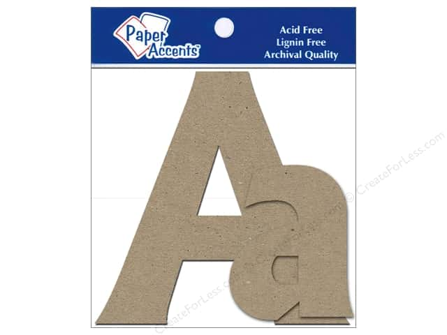 Paper Accents Chipboard Shape Letters Aa 4 in. 2 pc. Kraft