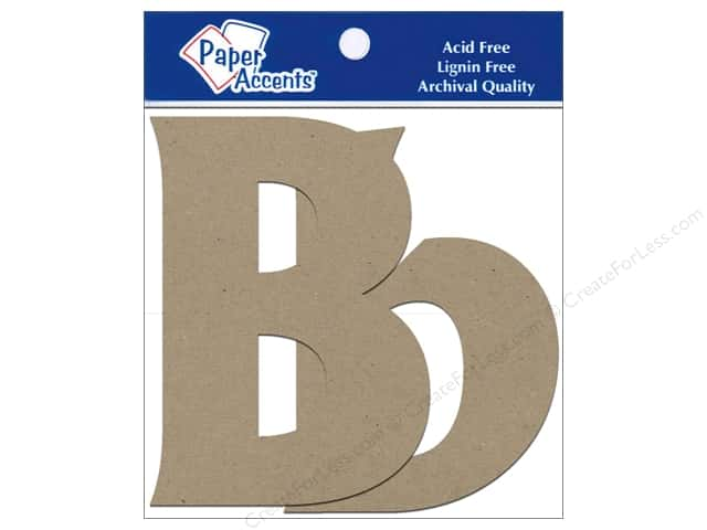 "Paper Accents Chipboard Shape Letters ""Bb"" 4 in. 2 pc. Kraft"