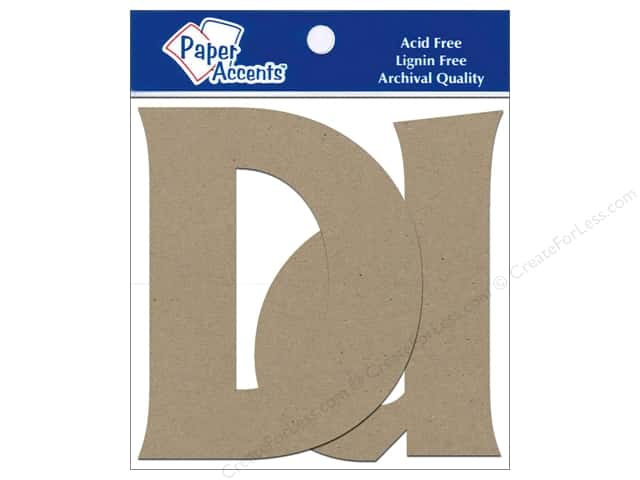 Paper Accents Chipboard Shape Letters Dd 4 in. 2 pc. Kraft