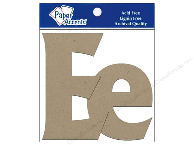 Paper Accents Chipboard Shape Letters Ee 4 in. 2 pc. Kraft