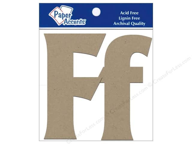 Paper Accents Chipboard Shape Letters Ff 4 in. 2 pc. Kraft