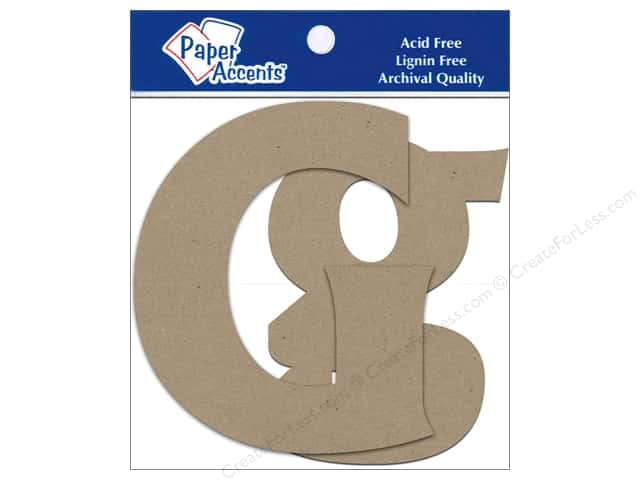 Paper Accents Chipboard Shape Letters Gg 4 in. 2 pc. Kraft