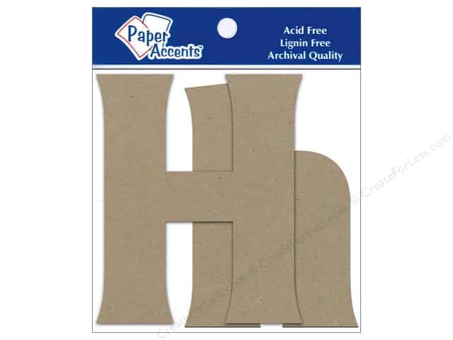 Paper Accents Chipboard Shape Letters Hh 4 in. 2 pc. Kraft