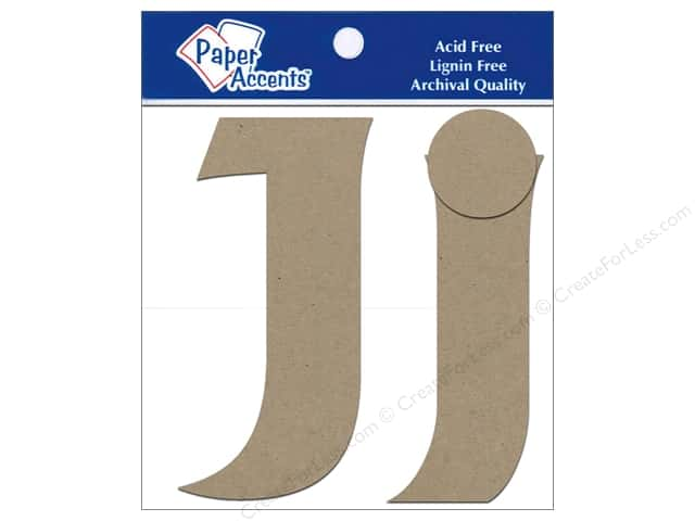Paper Accents Chipboard Shape Letters Jj 4 in. 2 pc. Kraft