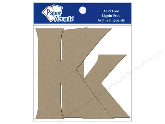Paper Accents Chipboard Shape Letters Kk 4 in. 2 pc. Kraft